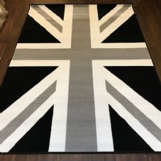 Modern Rug Approx 6x4ft 120x170cm Woven Back Union Jack Black-Grey-Cream New